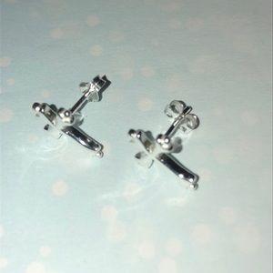 Jewelry - Sterling Silver Cross Earrings. New!